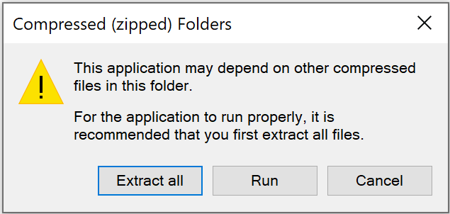 Windows application is compressed warning