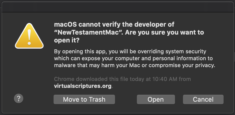Mac cannot verify developer of app, open anyways option